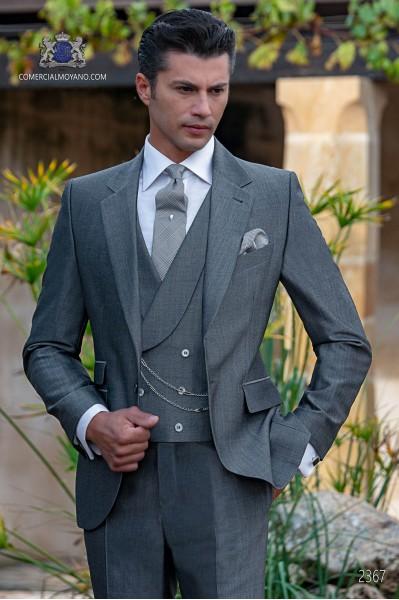 Traje italiano gris mixto lana mohair alpaca