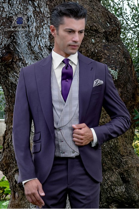 Italian bespoke purple cool wool mix suit
