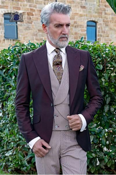 Italienisch maßgeschneiderte Burgunder Bräutigam-Anzug