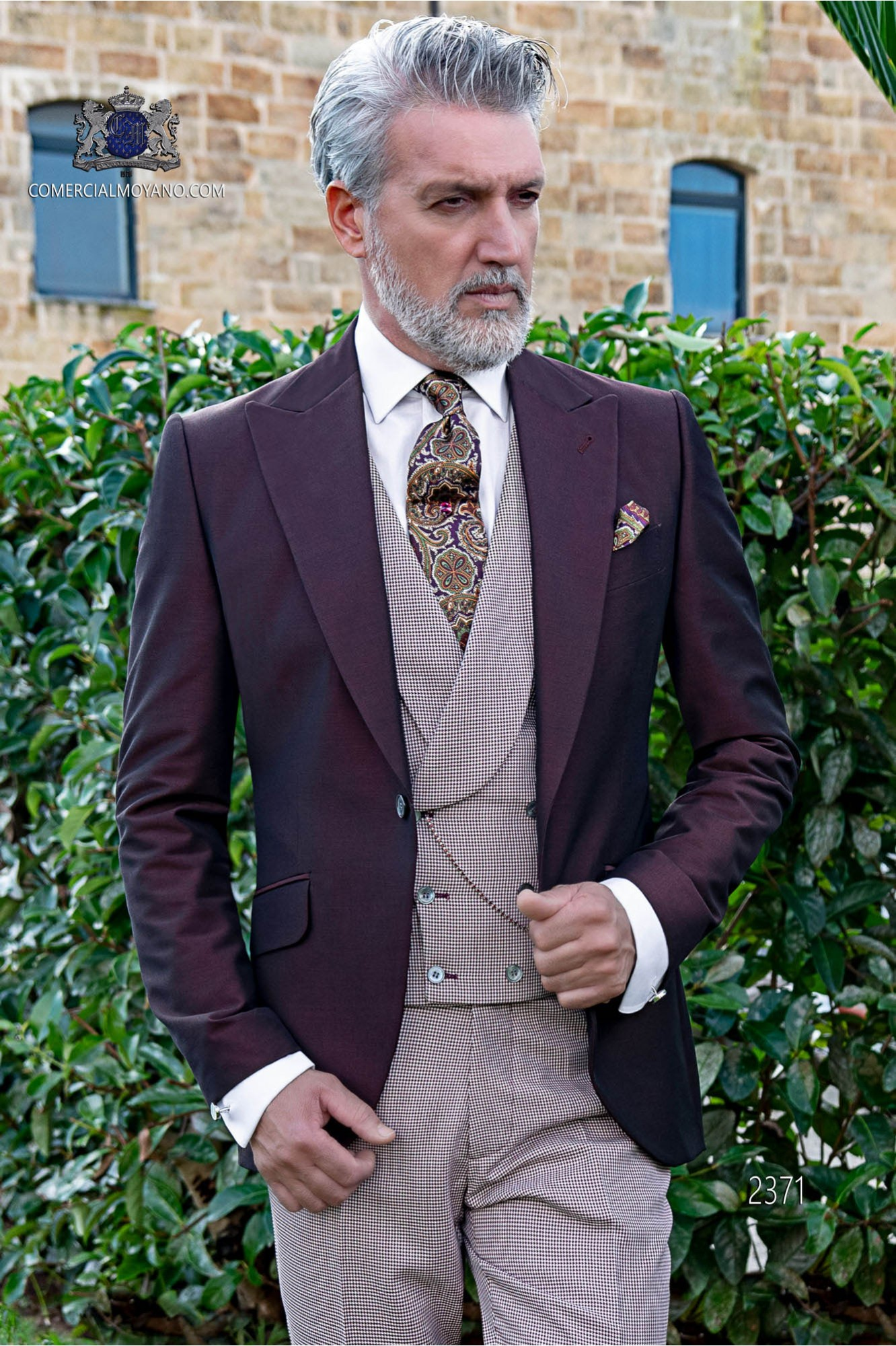 Italian bespoke burgundy groom suit coordinated with houndstooth trousers