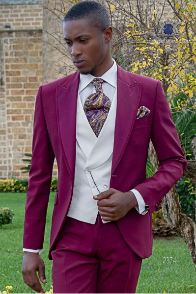 Italienischer Hochzeitsanzug mit Schmal geschnittener, Hochzeitsanzug, aus Acetat Wolle, Burgunde
