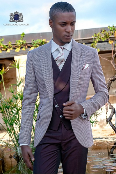 Bespoke Houndstooth suit Burgundy