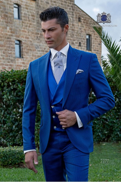 Traje de novio pata de gallo azul royal