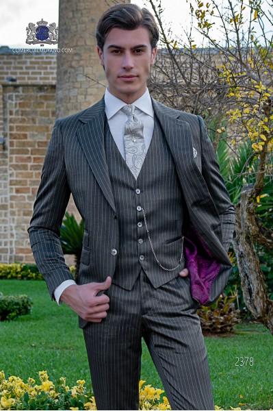 Italian bespoke grey pinstripe suit