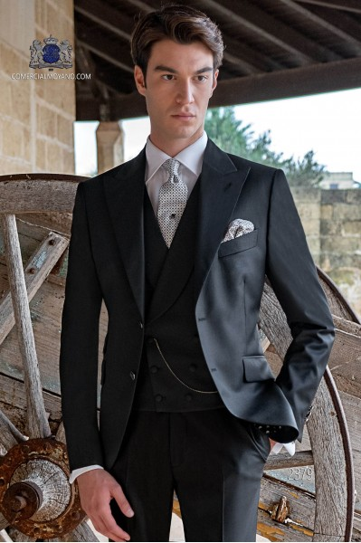 Italian black fashion groom suit. Pure wool fabric.
