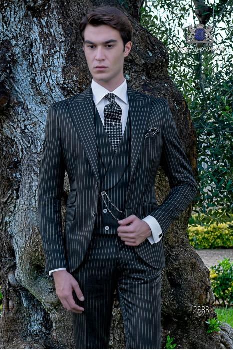 Italian bespoke royal blue pinstripe suit