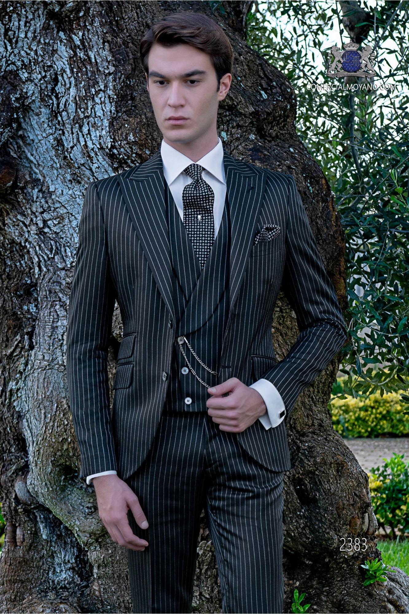 Italian bespoke royal black pinstripe suit