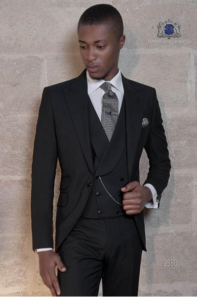 Traje italiano moderno negro mixto lana