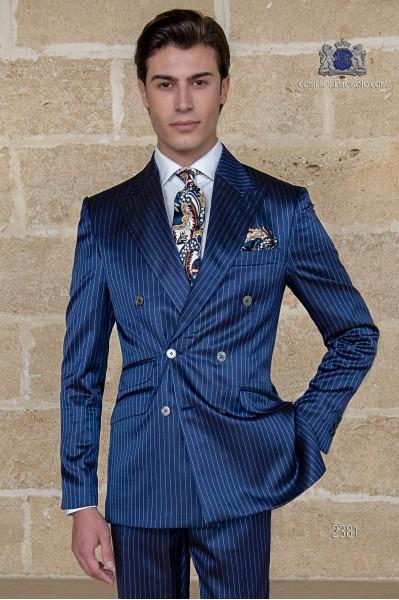 Nadelstreifen royal blau zweireihige Herren Anzug