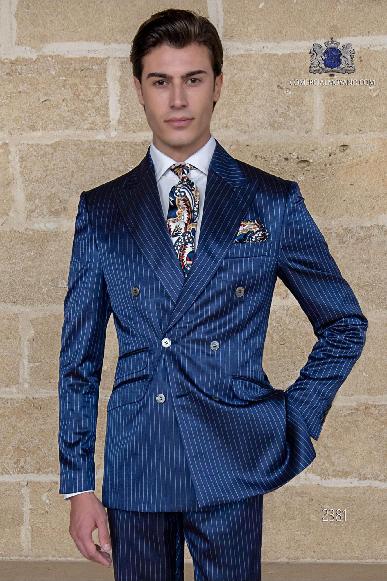 Italian bespoke royal blue pinstripe double breasted suit