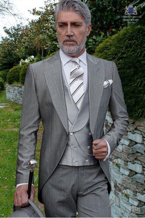 Italian bespoke morning suit wool silk light grey fil-a-fil with pinstripe trousers