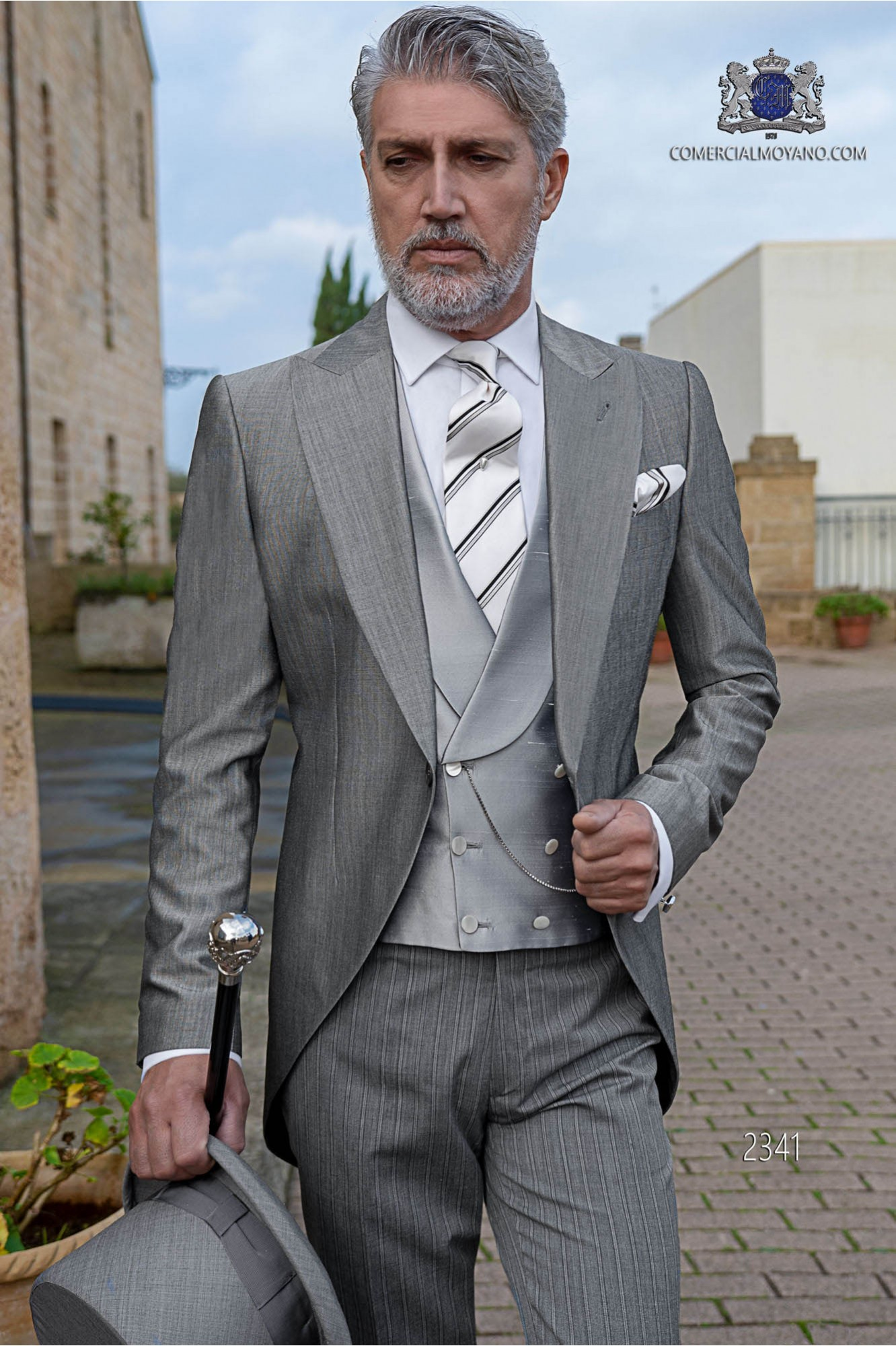 Italian bespoke morning suit mohair wool mix alpaca light grey with pinstripe trousers