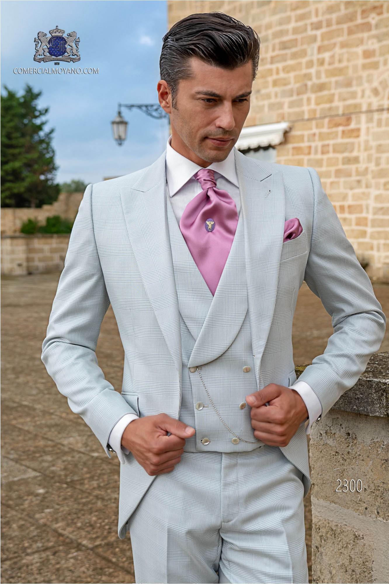 Bespoke Prince of Wales frock coat gray pearl