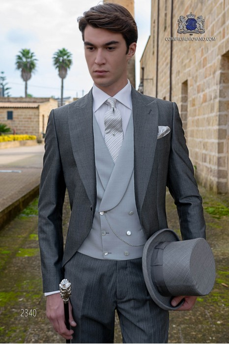 Italian morning suit mohair wool mix alpaca anthracite grey with pinstripe trousers