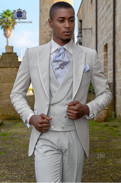 Italian bespoke gray pearl morning suit