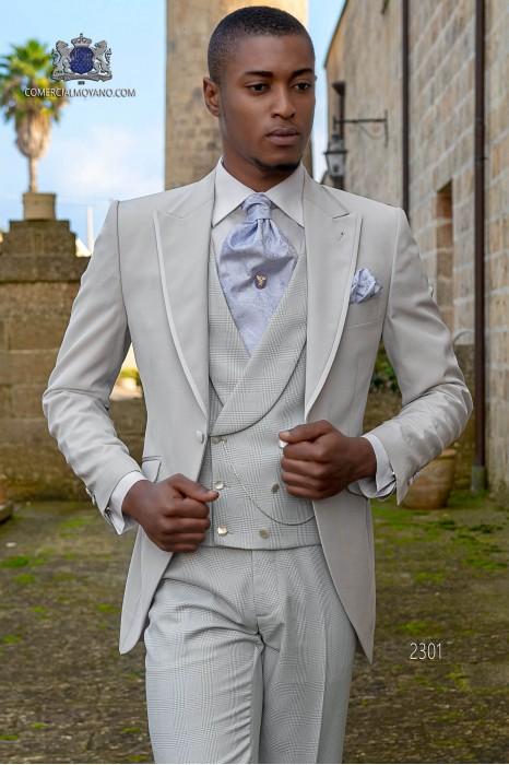 Italian bespoke gray pearl morning suit