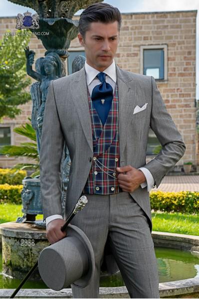 Italian morning suit mohair wool mix alpaca light grey tailored suit.