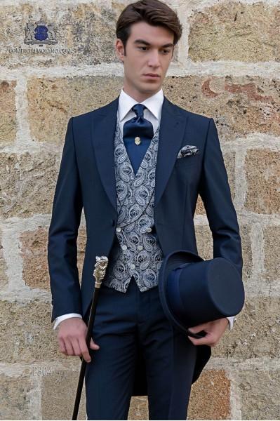Italienne jaquette de marié bleu sur mesure