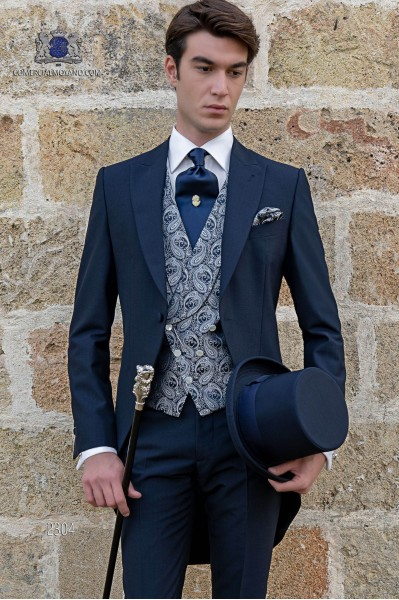 Italienische Bräutigam cut Anzug, marine blau, aus Mohair Wolle