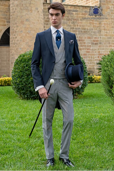"Bespoke blue morning suit with ""Prince of Wales"" trousers"