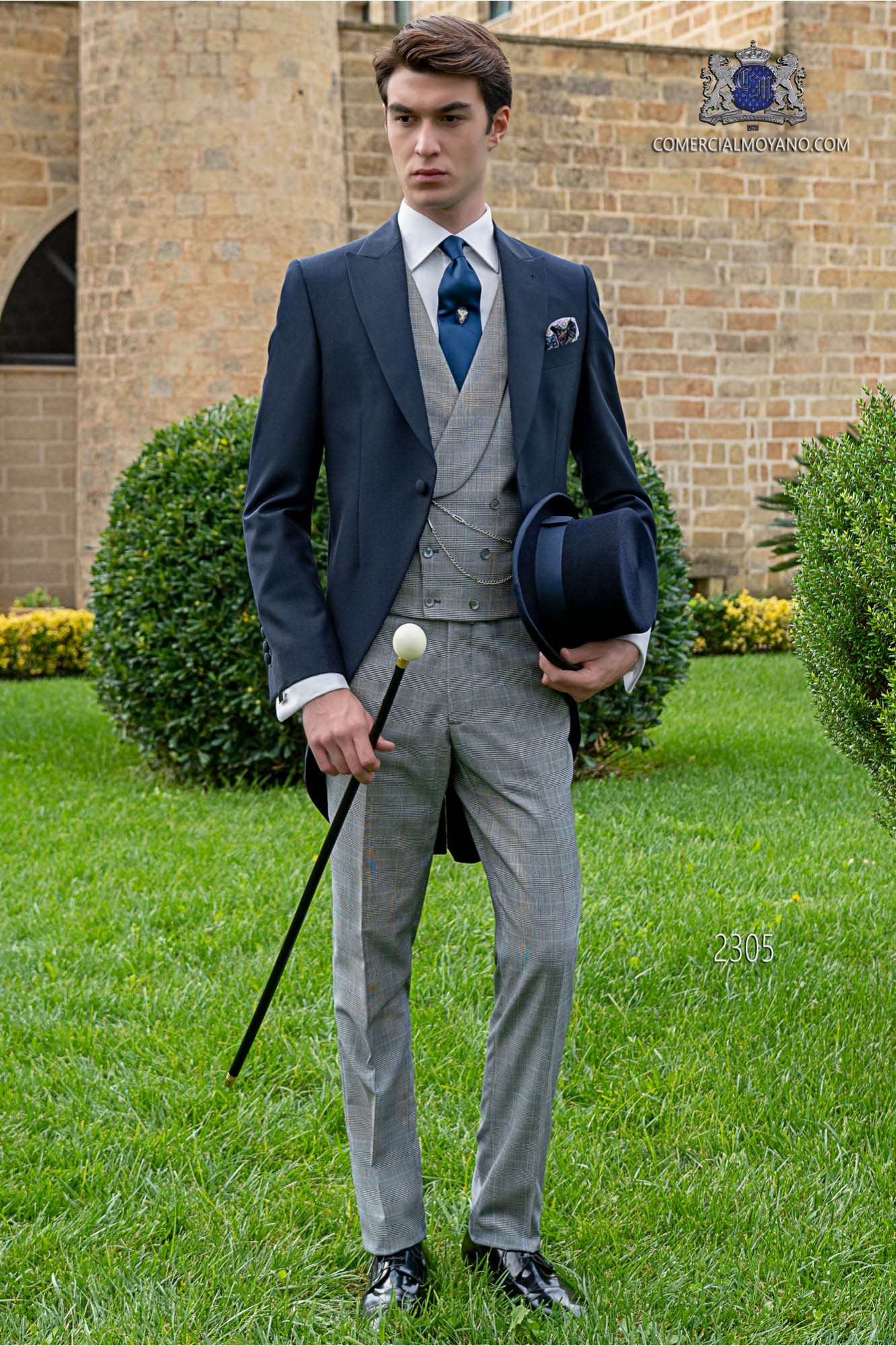 """Bespoke blue morning suit with """"Prince of Wales"""" trousers"""