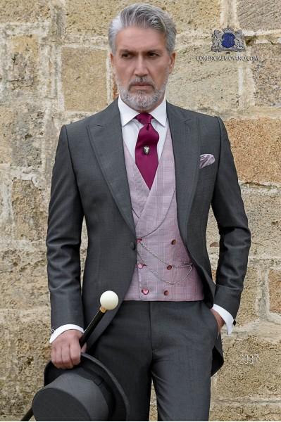 """Chaqué italiano de elegante corte """"Slim"""". Tejido lana de alpaca gris marengo."""