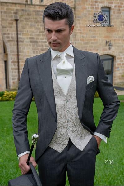 Graue Cut Hochzeitsanzug aus Fil a Fil Wollmischung Stoff