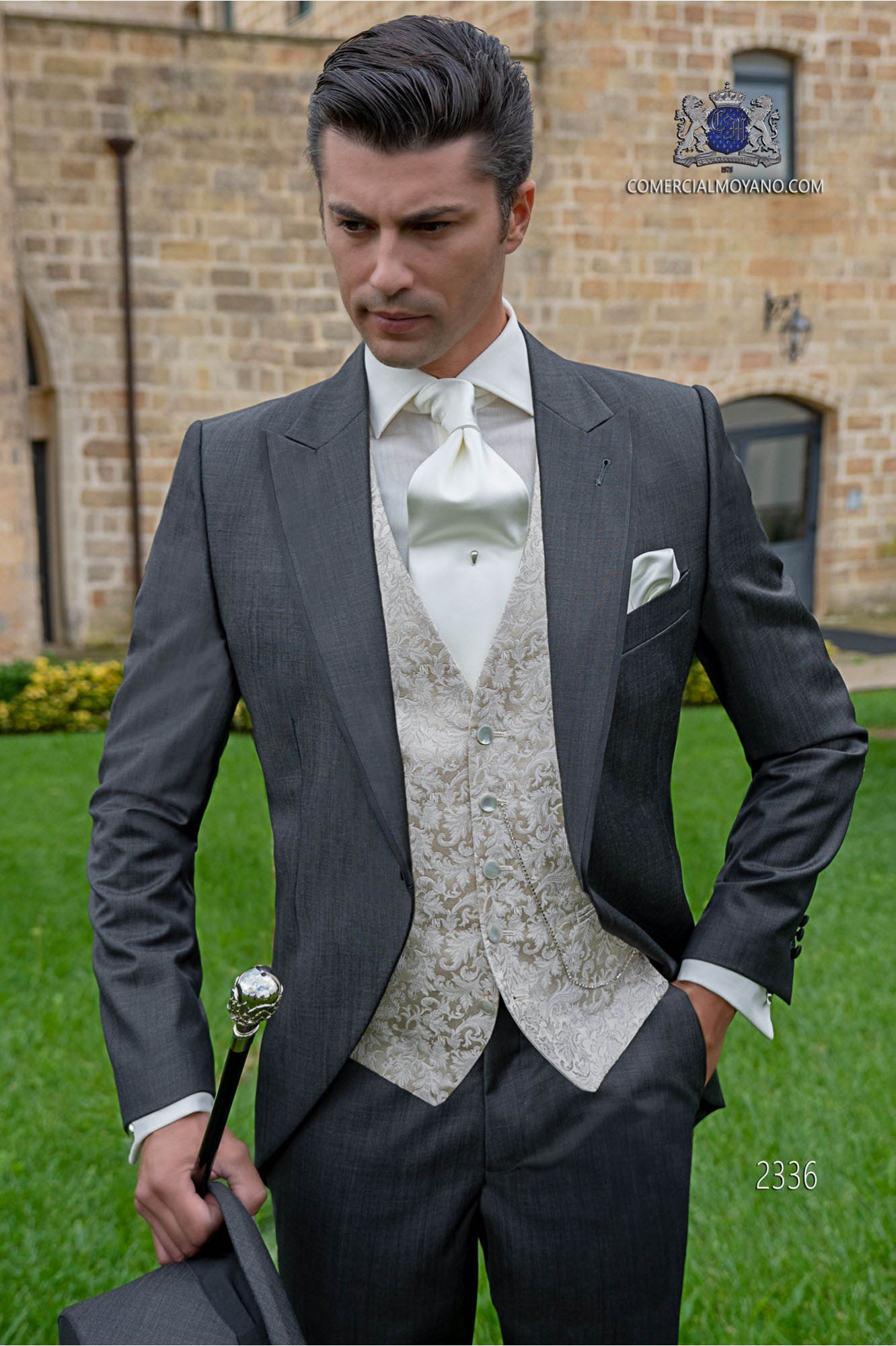 Italian bespoke morning suit wool mix dark grey fil-a-fil