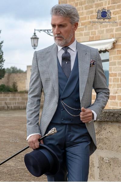 Chaqué de novio príncipe de gales gris y azul