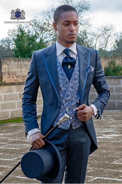 """Elegante italienische Gehrock Schneiderei cut """"Slim"""", eine Öffnung. Prince of Wales blauen Stoff."""
