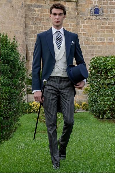 "Costume de marriage bleu avec ""Prince of Wales"" pantalons"