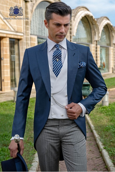 Italian blue fil a fil wedding morning suit