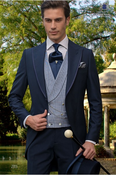 Costume morning suit navy tailor made to measure fil a fil mixed wool