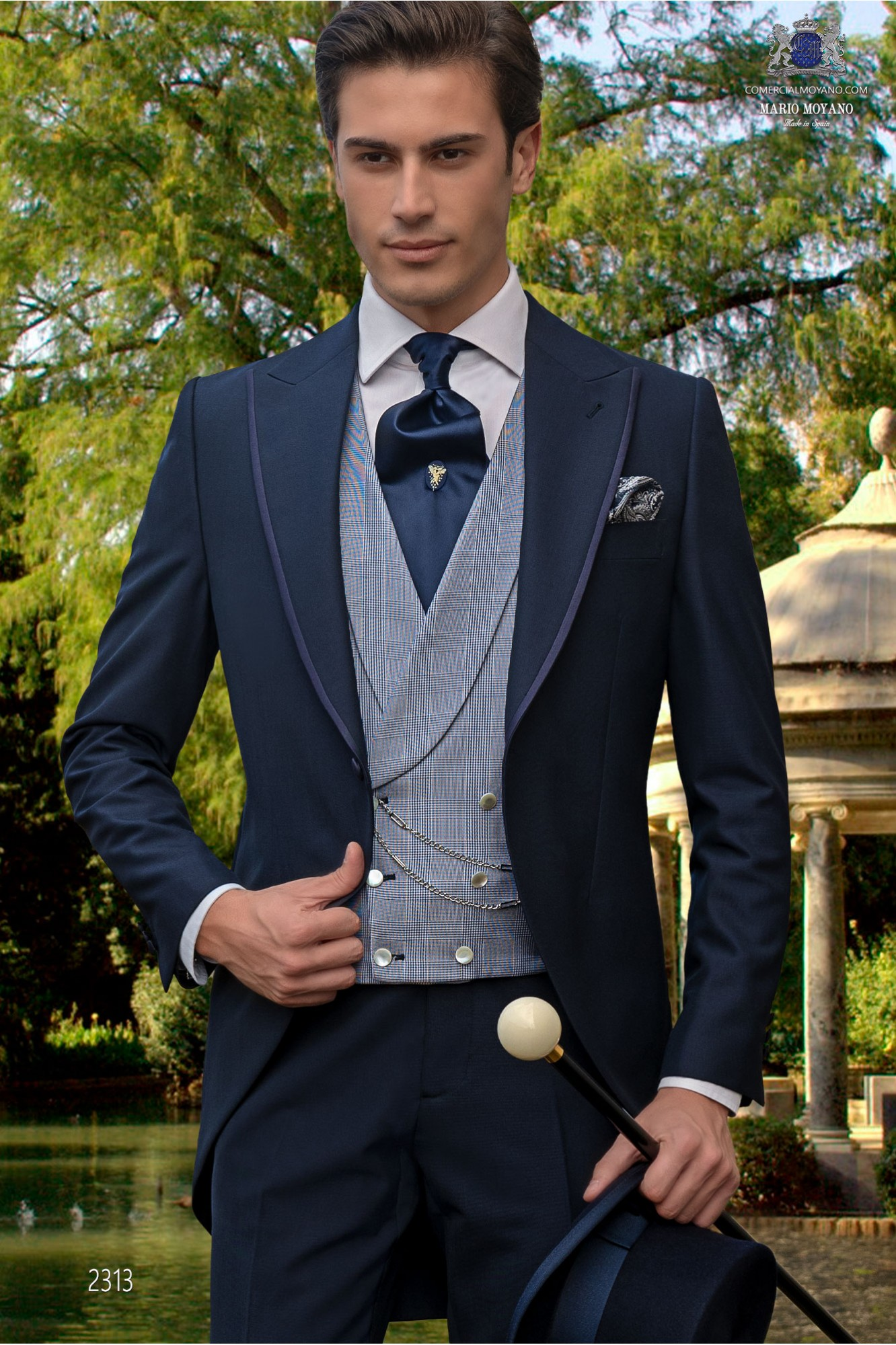 Costume morning suit navy tailor made to measure alpaca mixed wool