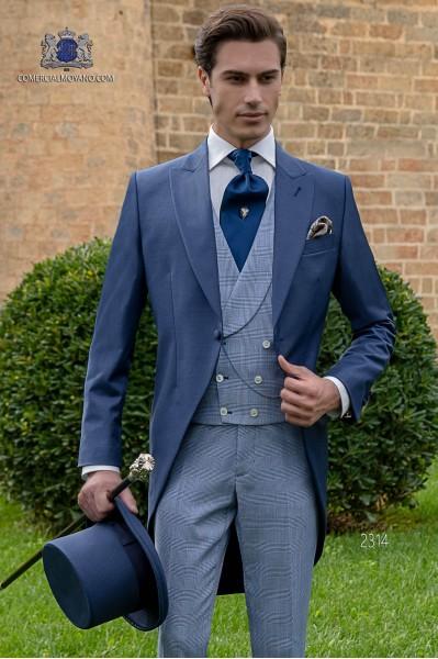 Chaqué de novio a medida azul royal fresco lana
