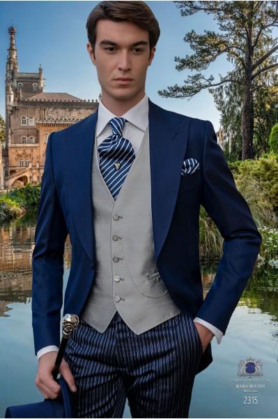 Costume de mariage bleu royal mohair laine mélangé alpaga