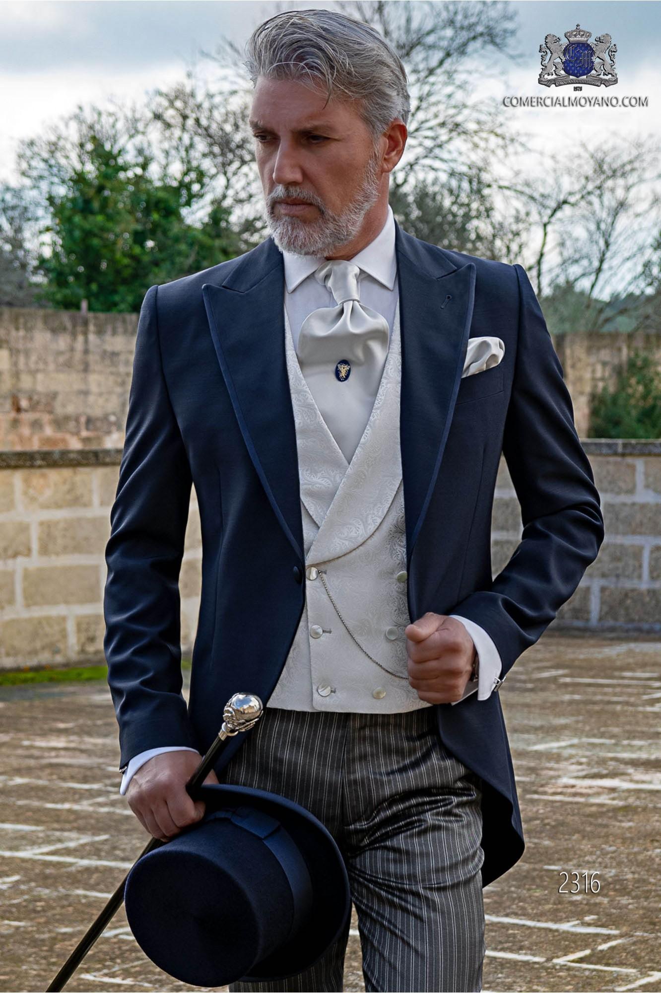 Italian blue short frock men wedding suit