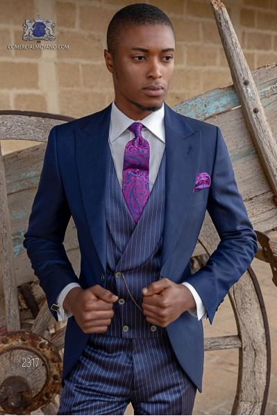 Chaqué de novio azul royal mixto lana mohair alpaca