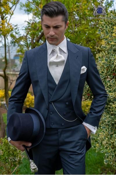 """Jaquette bleu avec coupe """"slim"""" et construction italienne"""