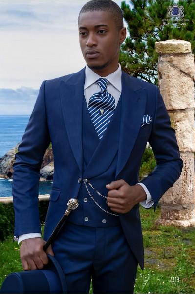 Bespoke royal blue morning suit mohair wool mix alpaca