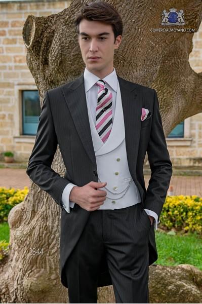 Italian black wedding morning suit