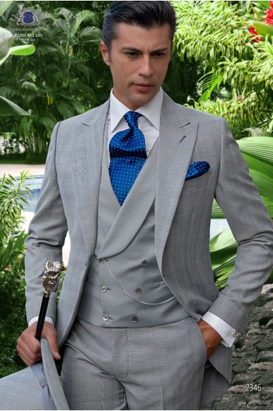 Bespoke Prince of Wales grey and blue morning suit