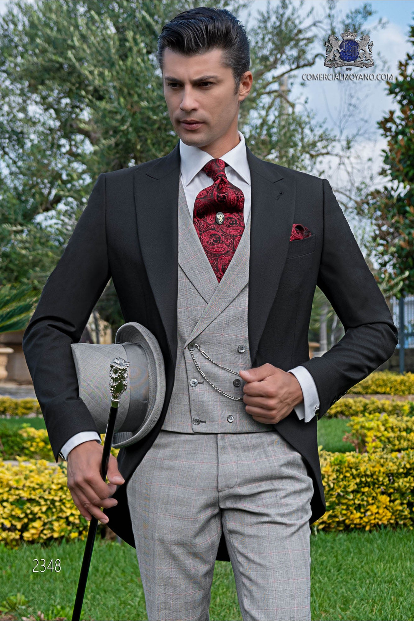 Italian morning suit wool mix black with Prince of Wales trousers