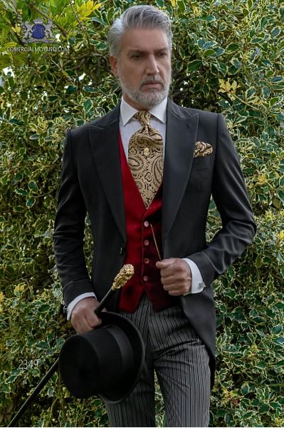 Chaqué de novio negro tejido lana con pantalón raya diplomática