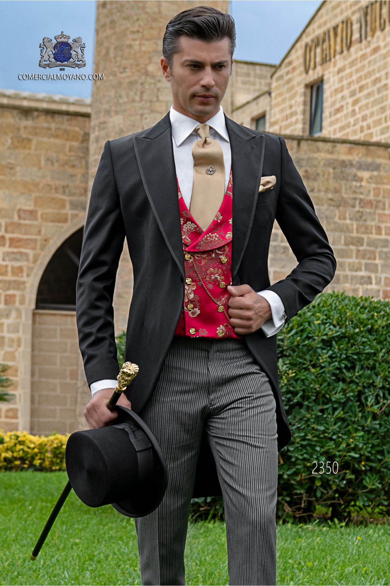Italian morning suit wool mix black with pinstripe trousers