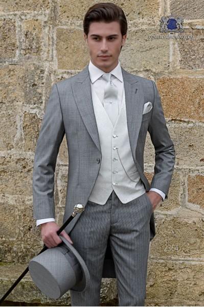 Chaqué gris claro a medida fil a fil mixto lana