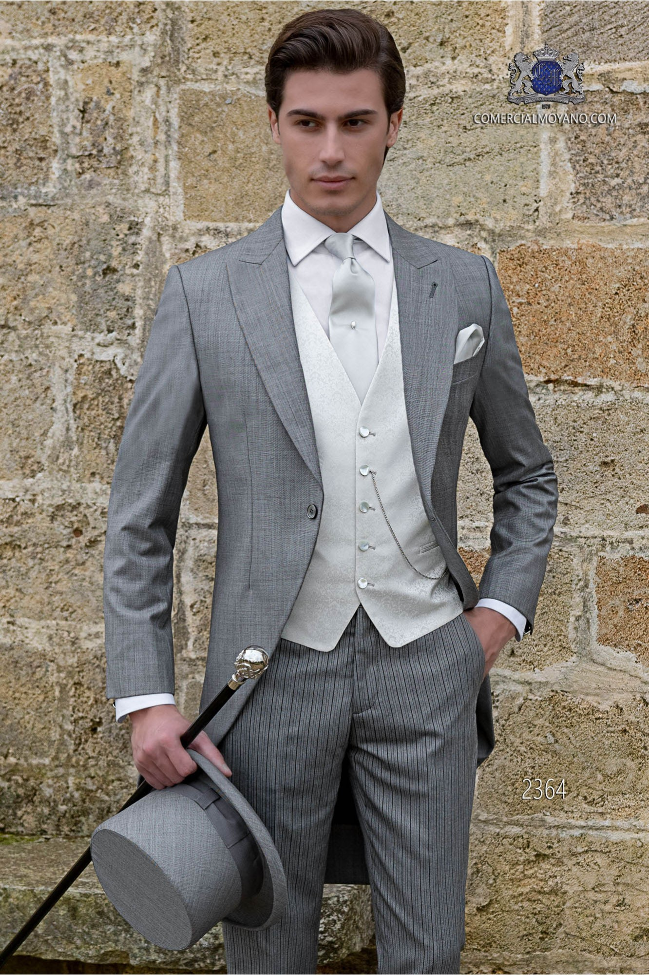 Italian bespoke morning suit wool mix light grey fil-a-fil coordinated with pinstripe trousers