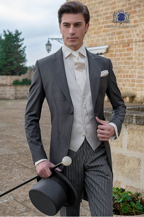 Italian morning suit mohair wool mix fil a fil anthracite grey with pinstripe trousers