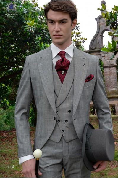 Schottenmuster graue Cut Bräutigam Anzug