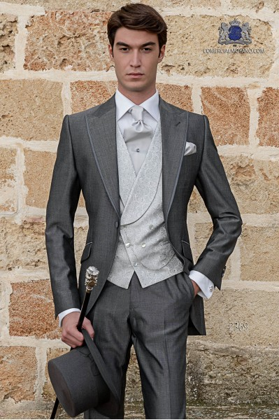 Italian short-tailed gray wedding suit